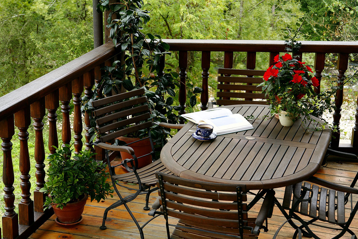 terraza exterior con vistas apartamento rural
